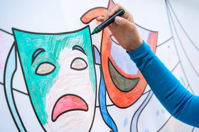 Hand coloring drama masks